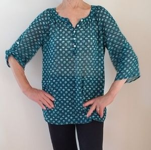 APT.9 Henley Green Sheer Roll-Tap Tunic Top